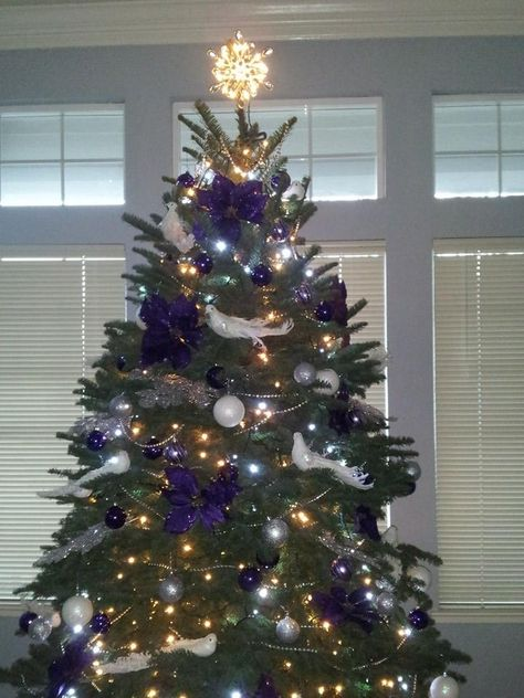 Purple Flowers And White Doves Christmas Tree By Concept Candie Interiors Purple Christmas White Interior Decorating And Virtual Online Purple Christmas Tree Christmas Decorations Purple Christmas