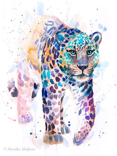 Amur leopard watercolor painting print by Slaveika Aladjova