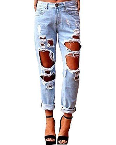 Guiran Donna Jeans Strappati Pantaloni A Vita Alta Pantaloni Boyfriend Distressed Denim Pantaloni