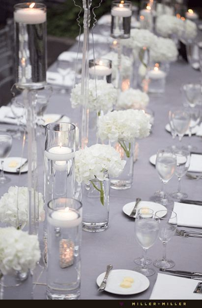 Simple White Centerpiece - Junebug Weddings - Wedding Photo Gallery – Photography - Ideas - photography (simple wedding decorations floating candles)