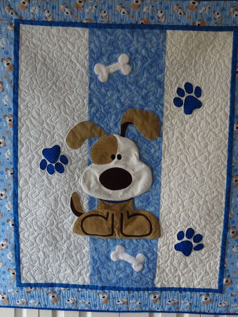 Puppy Dog Quilt for Baby or Toddler with Applique Dog, Paw Prints and Bones in Blues, White and Tans