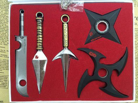 7Pcs NARUTO Mini Metal Weapons Model Hatake Kakashi Deidara Kunai Shuriken armas