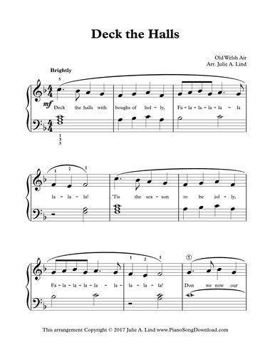 Deck The Halls Easy Christmas Piano Solo Free To Print From