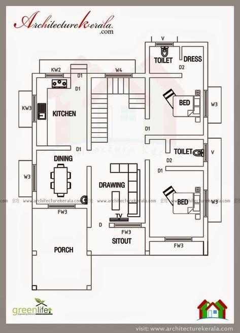 2000 Sq Feet House Plans Best Of Below 2000 Square Feet House Plan And Elevation Duplex House Plans 2bhk House Plan House Layout Plans