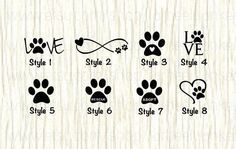We all love our pets! Show your love for your furry family with any of these awesome decal(s)! Any of these decals would look great on your back window, work/school locker, computer, notebooks, mirrors etc. They are not meant for walls nor will they adhere to silicon or porous surfaces. **This listing is for one decal. You can choose the style along with its size of Height X Width from the drop down menu. ** The colors Black, Blue and Purple are difficult to see on a car window Decal:...