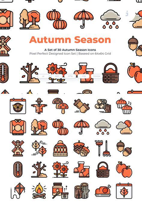 30 Autumn Season Icons AI, EPS