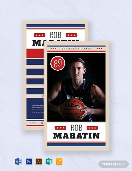 Basketball Trading Card Template Free Pdf Word Psd Apple Pages Illustrator Publisher Baseball Card Template Trading Card Template Player Card