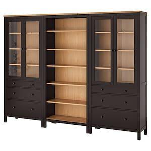 Hemnes Storage Combination W Doors Drawers Black Brown Light Brown 106 1 4x77 1 2 Ikea In 2020 Hemnes Bookcase Hemnes Glass Cabinet Doors