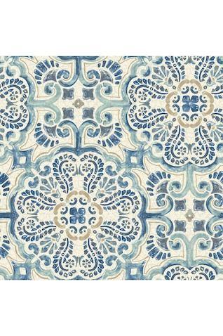 Blue Florentine Tile Peel Stick Wallpaper Vinyl Wallpaper Peel And Stick Wallpaper Tile Wallpaper