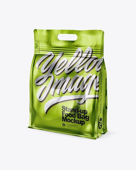 Download Metallic Stand Up Food Bag Mockup Half Side View In Bag Sack Mockups On Yellow Images Object Mockups Free Psd Mockups Templates Business Card Mock Up Mockup Free Psd