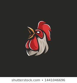 Chicken Head Athletic Club Vector Logo Concept Isolated On Dark Background Modern Sport Team Mascot Badge Design Chicken Logo Rooster Logo Graphic Design Logo
