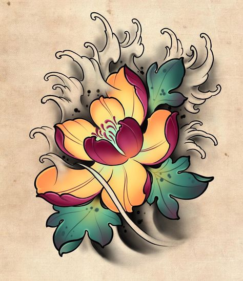 "Roma M De on Instagram: ""Japanese floral :) #tattoo #tattoos #tat #ink #inked #design #drawing #ipadpro #ipadprotattooteam #ipad #supertattoos #lotustattoo #тату…"""