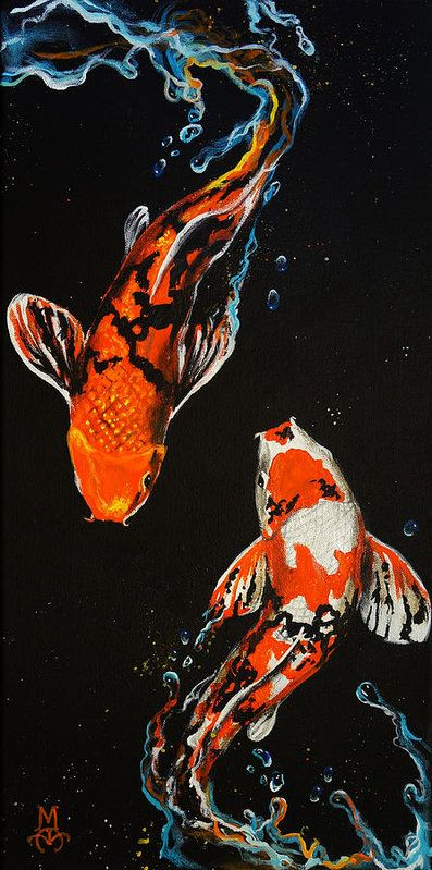 """Koi fish are the domesticated variety of common carp. Actually, the word """"koi"""" comes from the Japanese word that means """"carp"""". Outdoor koi ponds are relaxing. Art Inspo, Kunst Inspo, Inspiration Art, Journal Inspiration, Art Koi, Koi Kunst, Koi Painting, Peace Painting, Paintings Of Fish"""