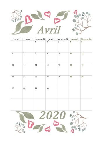 Avril 2020 Aquarelle Calendrier2020 Avril2020