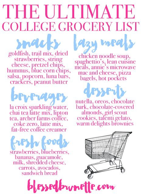 The Ultimate College Grocery List wwwblessedbrunette The - sample new apartment checklist