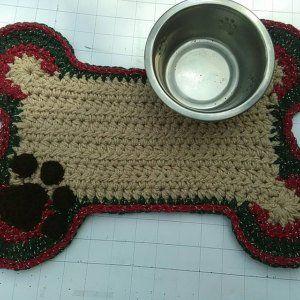 Crochet Pattern Dog Bone Placemat Pet Food Bowl Floor Mat Etsy Crochet Patterns Basic Crochet Stitches Placemats
