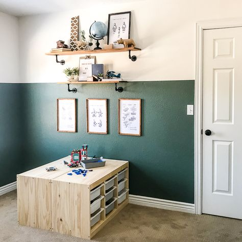 Added some much needed LEGO storage in the boy's room. So much easier to keep organized and picked up! Lego Room Decor, Playroom Decor, Ikea Kids Room, Kids Bedroom, Boy Toddler Bedroom, Lego Storage Brick, Storage For Legos, Kid Room Storage, Toy Storage