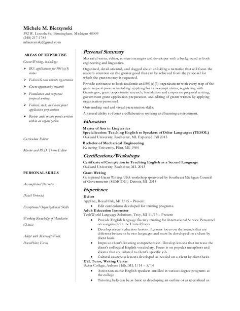 Resume Grant Writing Focus Oct2015 V2 In 2020 Grant Writing
