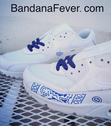 43043202 Bandana Fever Royal Blue Bandana Print Custom White Nike Air Max Shoes – Bandana  Fever Designs