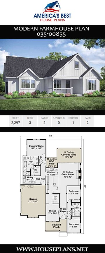 House Plan 035 00855 Modern Farmhouse Plan 2 297 Square Feet 3 Bedrooms 2 Bathrooms In 2020 Modern Farmhouse Plans Farmhouse Plans Modern Farmhouse