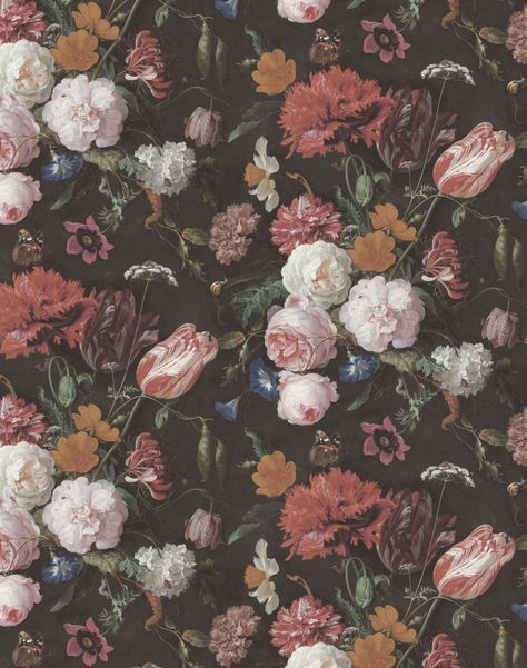 """Overview Exquisite, moody vintage florals set against a dark background. Taken from the painting of Jan Davidsz. de Heem. The W&M design studio created a repeatable, exquisite wallpaper Measurements• Roll: 20.5"""" x 11yards long• Repeat: 20.8"""", half drop Additional Notes • Our wallpapers reach the highest EU fire rating; EN15102 / EN13501 B SI. d0 • Quick & easy 'Paste The Wall' application (no decorating table or pre-cutting required)• Proudly made in Lancashire England Color Description  Vintage Phone Wallpaper, Floral Wallpaper Iphone, Vintage Flowers Wallpaper, Iphone Wallpaper Tumblr Aesthetic, Iphone Background Wallpaper, Dark Wallpaper, Flower Wallpaper, Aesthetic Wallpapers, Black Floral Wallpaper"""