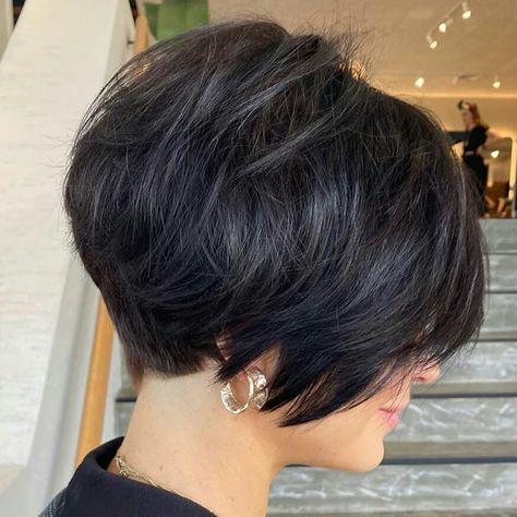 Pixie Haircut For Thick Hair, Short Hairstyles For Thick Hair, Short Hair Styles Easy, Short Hair With Layers, Short Hair Cuts For Women, Short Haircuts For Ladies, Short Highlighted Hairstyles, Short Hair Back, Funky Short Hair