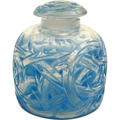 R. Lalique 'Epines' Perfume Bottle with Blue Staining c