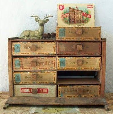 vintage cigar box drawers
