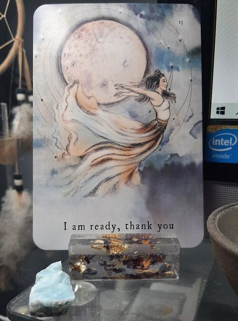 """I am ready, thank you"" from The Moon Deck by Aarona Lea and Andrea Keh. Shared in the post Energy for May 2021 by Ellen M. Gregg, Intuitive Channel & Healer. #energyreading #divination #may2021 #may2021energy #beltane2021 #evolution #growth #inspiration #enrichment #desires #themoondeck #ellenmgregg #intuitivechannel #intuitivehealer"