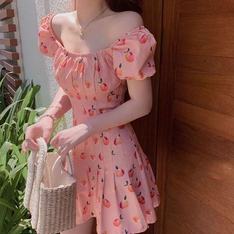 17.63US $ 40% de desconto|Mini vestido rosa elegante estilo kawaii, feminino, estampa floral, de cereja, casual, japonês, estilo coreano, verão 2020|Vestidos|   - AliExpress