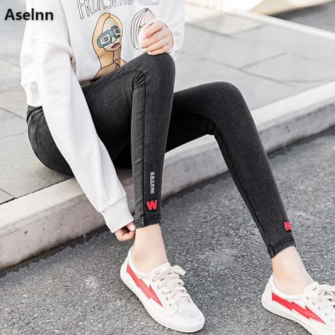 d55c8b31d4bf Aselnn 2018 Spring Slacks For Women Casual Elastic Waist Letter Embriodered  Stretch Female Pencil Pants Trousers