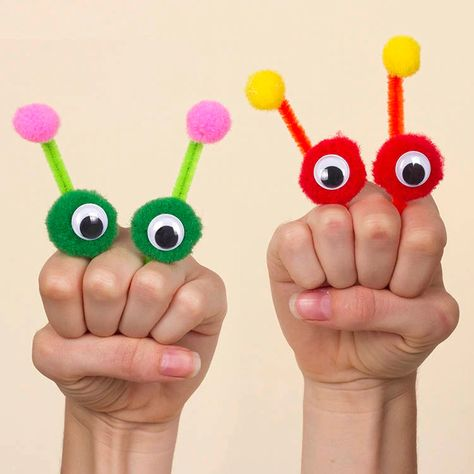 Alien Finger Puppets   Free Craft Ideas   Baker Ross Animal Crafts For Kids, Fun Crafts For Kids, Diy Arts And Crafts, Art For Kids, Craft Activities, Preschool Crafts, Alien Crafts, Puppets For Kids, Pipe Cleaner Crafts