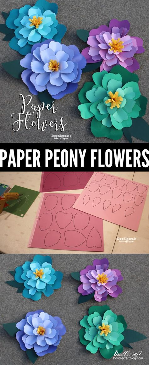 Giant Peony Papercraft Flowers Perfect for Backdrops and Decor! Giant Peony Papercraft Flowers Perfect for Backdrops and Decor! Make a bouquet or wall background with giant cardstock paper flowers. Bright colors and ombre finish.uses only 3 supplies! Big Paper Flowers, Paper Peonies, How To Make Paper Flowers, Paper Flower Wall, Paper Flower Backdrop, Giant Paper Flowers, Diy Flowers, Diy Cardstock Flowers, Party