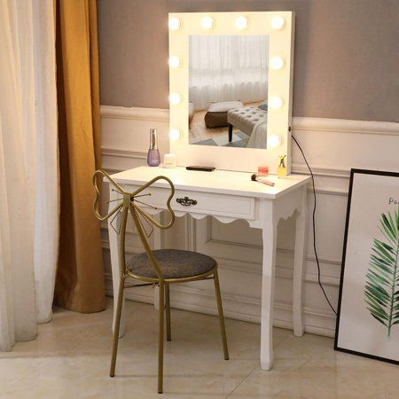 Ktaxon Vanity Table With Lighted Mirror Makeup Vanity Set Dressing Table With Iron Retro Butterfly Backrest Stool For Bedroom White 10 Warm Led Bulbs Walm Vanity Table Set Stylish Chairs Dressing