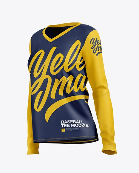 Download Women S Baseball T Shirt With Long Sleeves Mockup Half Side View In Apparel Mockups On Yellow Images Object Mockups Clothing Mockup Shirt Mockup Design Mockup Free