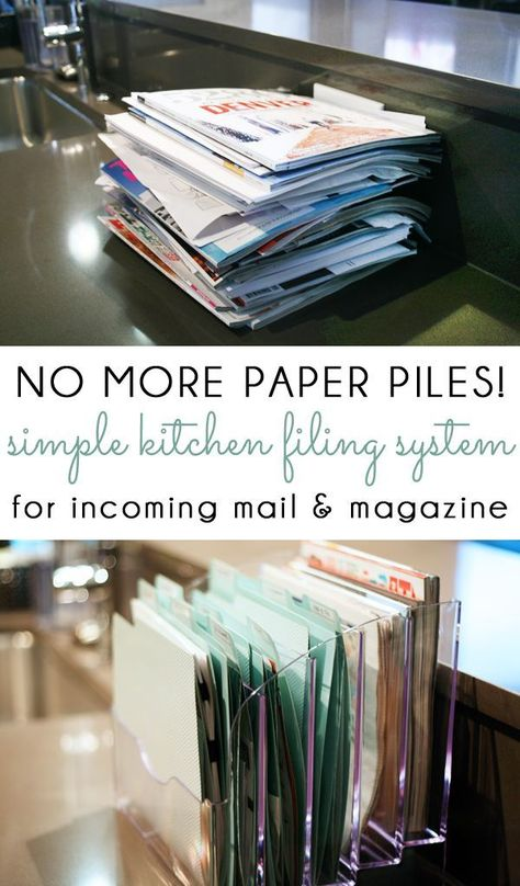 NO MORE PAPER PILES! Manage your incoming mail, kids school papers, catalogs and magazines with a simple kitchen counter filing system! organization {organizing with style} Managing Kitchen Paper Piles with a Simple Filing System Organization Station, Clutter Organization, Home Office Organization, Organizing Ideas For Office, Computer Desk Organization, Filing Cabinet Organization, Countertop Organization, Recipe Organization, Organization Ideas