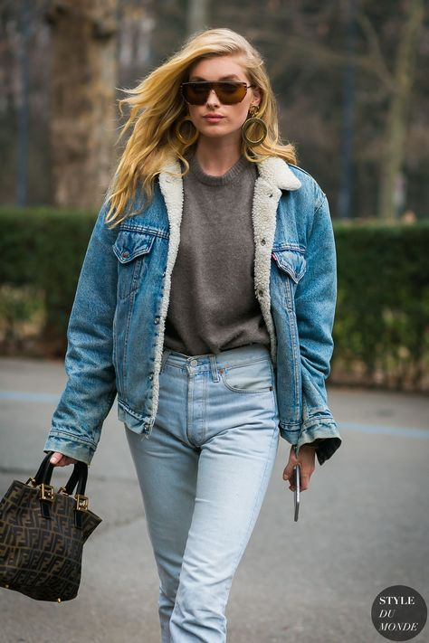 Model off duty, double denim, casual outfit