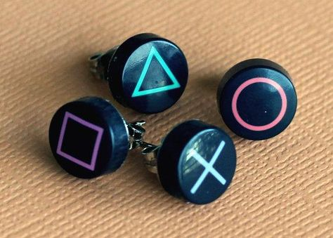 These are awesome. ^_^ If Iiked Playstation that is.Sadly, she doesn& have any sets. Playstation Button Earrings (Set of. Weird Jewelry, Cute Jewelry, Diy Jewelry, Jewelery, Jewelry Accessories, Jewelry Making, Funky Jewelry, Geek Jewelry, Funky Earrings