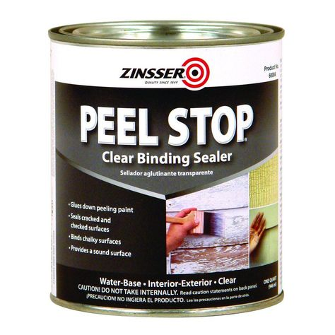 Zinsser Peel Stop 1-qt. Water Base Clear Interior/Exterior Binding Primer and Seale (Case of 6) glues down peeling paint and bind chalky surfaces. Designed to seal cracked and checked surfaces for durability, it helps provide a sound surface. Dries fast and prevents future peeling.