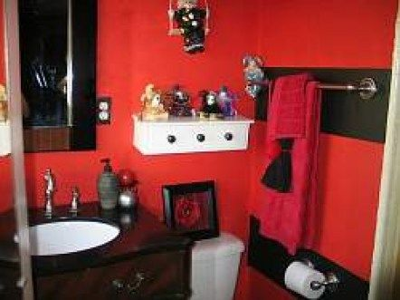 60 Bathroom Red And Black Ideas Bathroom Red White Bathroom Decor Red Bathroom Decor