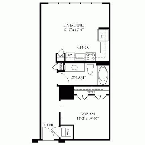 Image Result For Floor Plan 14 X 22 One Bedroom Floor Plans Tiny House Floor Plans Cottage Floor Plans