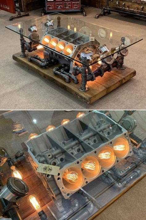This is a repurposed car engine coffee table by Minnesota-based Machine Age Lamps. Founded by Shawn Carling, the company provides Steampunk lighting and furniture fixtures that are perfect for people interested in machine age styles. Car Part Furniture, Automotive Furniture, Automotive Decor, Furniture Design, Automotive Engineering, Automotive Design, Automotive Industry, Engine Coffee Table, Engine Table