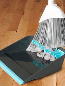 A handy dustpan with broom wipers.