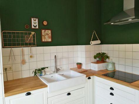 #meineküche #kitchen #green #ikea  2019  Grün meets Kupfer: In der Küche von Mitglied Ma123rie trifft grüne Wandfarbe auf kupferfarbene Accessoires und Deko! Eine tolle Kombi die beim Einrichten für Gemütlichkeit sorgt!  The post #meineküche #kitchen #green #ikea  2019 appeared first on Bathroom Diy.