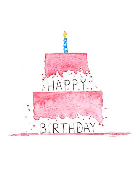 Handmade Happy Birthday Watercolor card from Sullivan Maps
