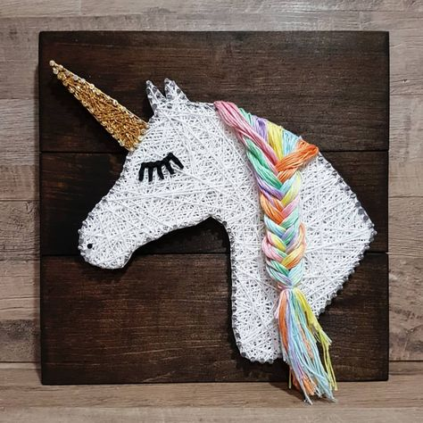 """Unicorn string art  Done on Jacobean stain 12 x 12"""" ALL custom orders accepted - DM me for inquires & pricing  Local pick up or Shipping…"""