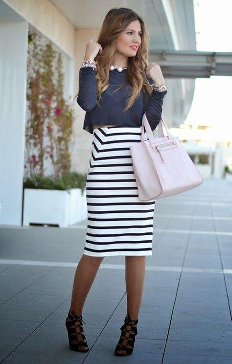 d8ecf35b6023 Outfit- con- Faldas- Tipo -LApiz (36) - Curso de Organizacion del ...