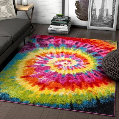 Tie Dye Retro Rainbow Trippy Multi Hippie Red Orange Yellow Green Modern Painting x Area Rug Easy Clean Stain Fade Resistant Shed Contemporary Geometric Art Thick Soft Plush Hippie Bedroom Decor, Hippie House Decor, Hippy Room, Indie Room, Rainbow Painting, Room Ideas Bedroom, Pink Rug, Contemporary Rugs, Geometric Art