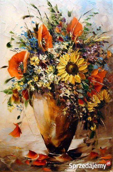 Polny Bukiet 60x40 Obraz Olejny Widoczna Faktura Kwiaty Art Flowers Painting