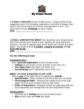 Students Practice Descriptive Writing About A Dream House Included Are Directions For A Picture Collage Descrip Descriptive Writing Dream House My Dream Home
